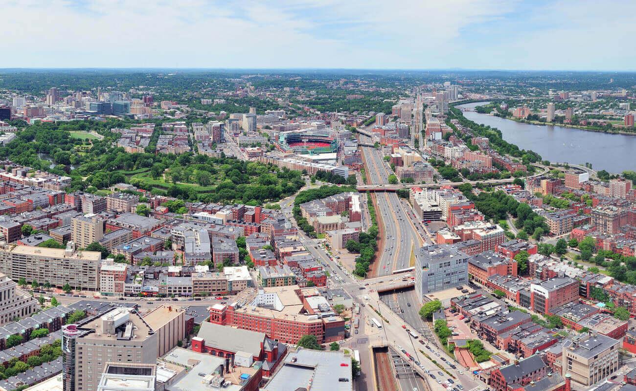 fenway neighborhood aerial view boston office space
