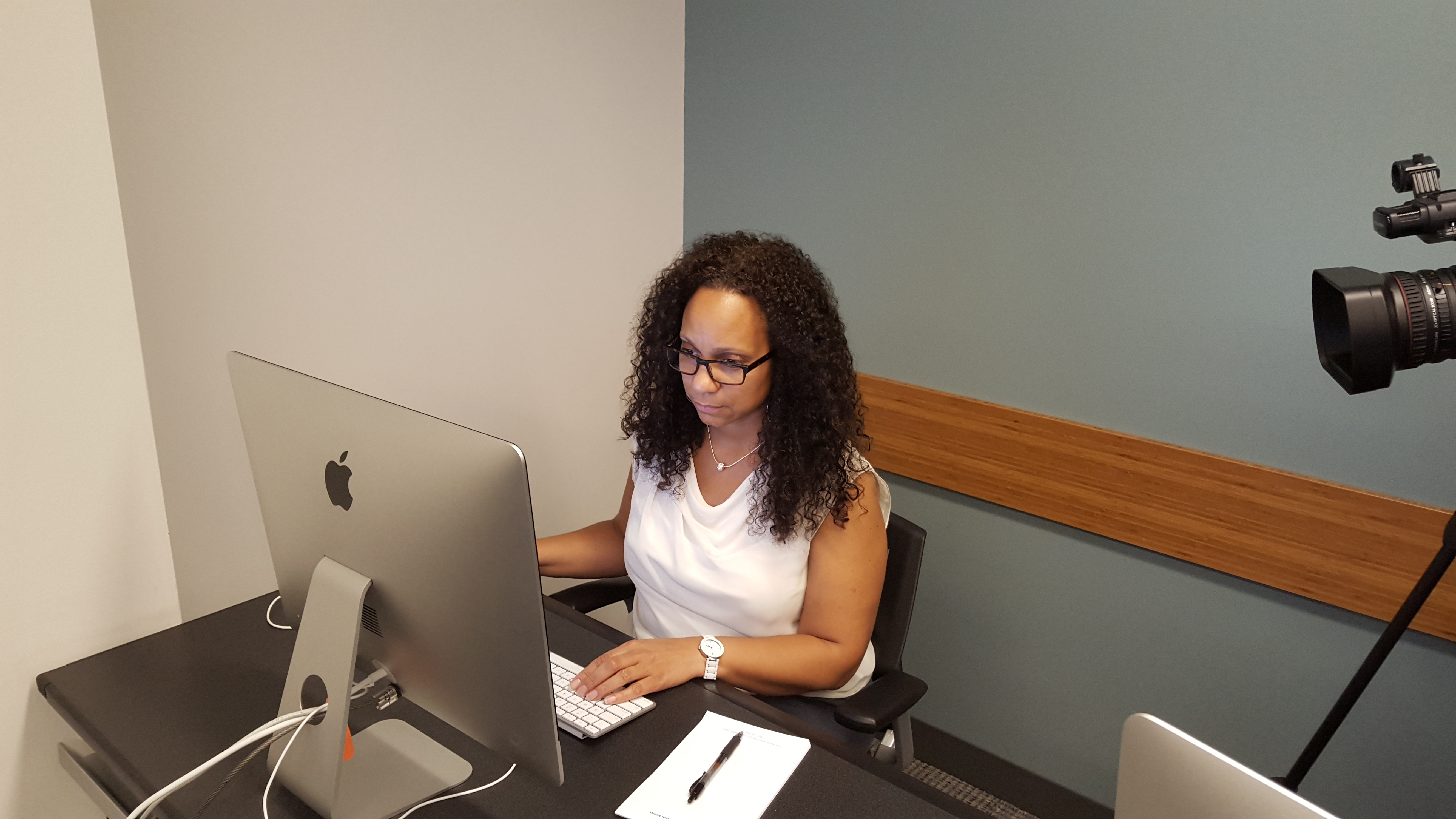 A faculty member teaches an online class at New York University's Schack Institute of Real Estate.