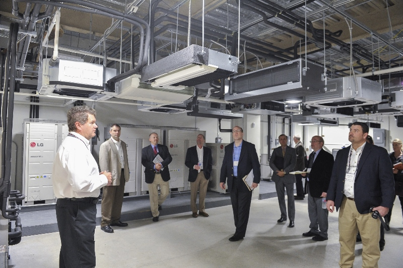 Ed Ferrier, an applications engineer, leads a tour of the Engineering Control Lab.