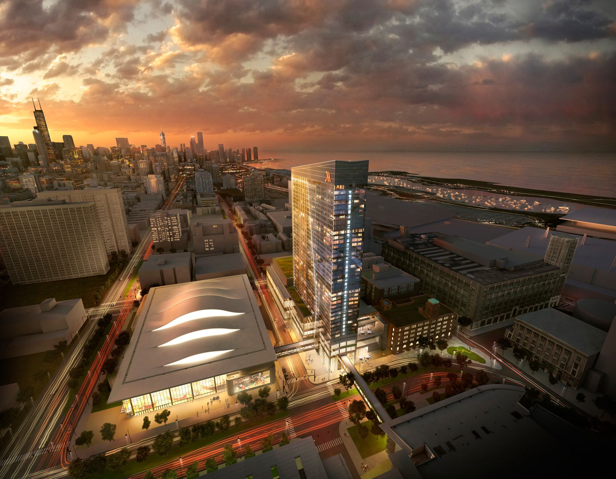 Rendering of the McCormick Place Event Center & Hotel