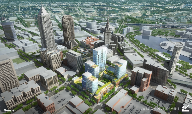 One of the best urban development sites in the country to be transformed into new walkable neighborhood in center of Downtown Cleveland (PRNewsFoto/Weston Inc.)