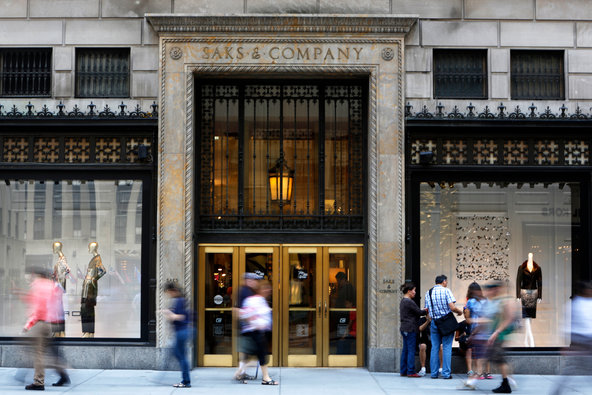 Saks building on Fifth Avenue in New York, NY.