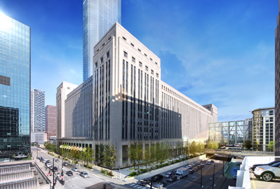 Rendering of proposed redevelopment plan for Chicago's Old Main Post Office
