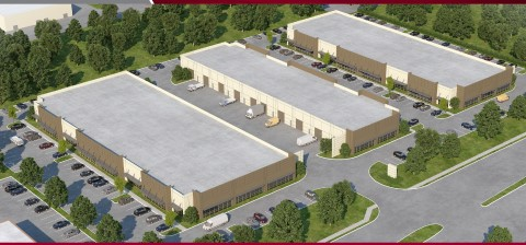 Rendering of JaRyCo's Tech Center One in Allen, Texas (far left)
