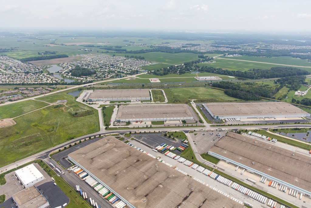 Aerial view of Indianapolis industrial development