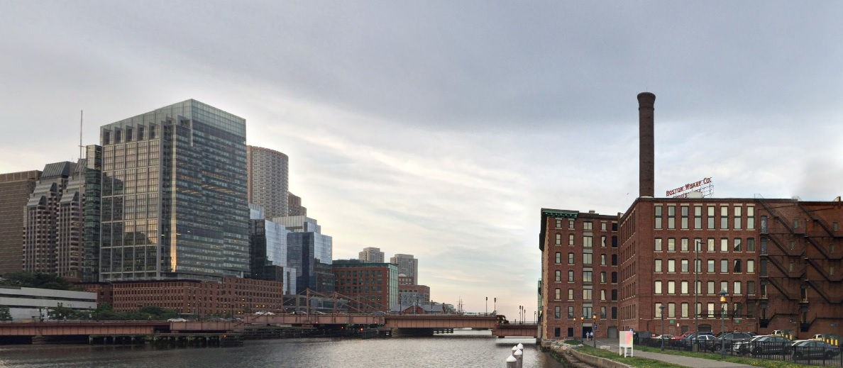 The site of GE's future HQ, across the Four Point Channel from Downtown