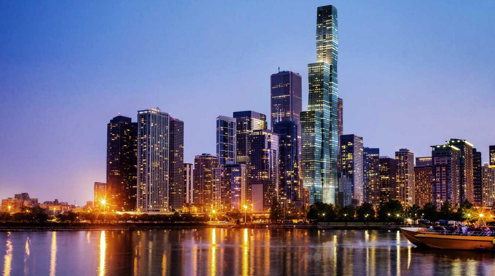 Chicago Skyline with Vista Tower rendering