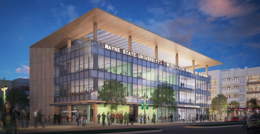 Rendering of The Mike Ilitch School  of Business