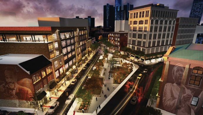 Rendering of future redevelopment at Paradise Valley in Detroit