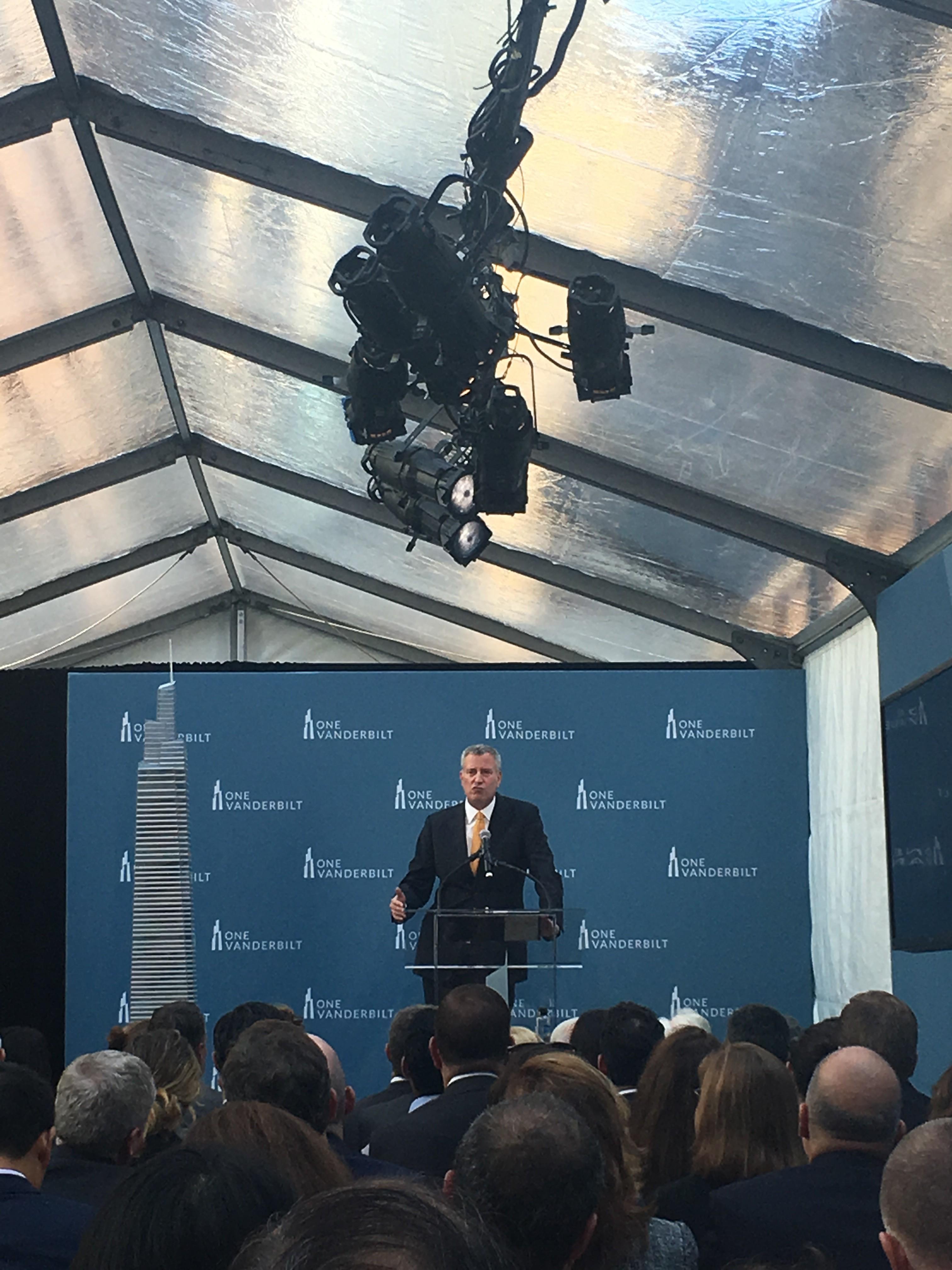 Mayor de Blasio speaking at the One Vanderbilt groundbreaking ceremony.