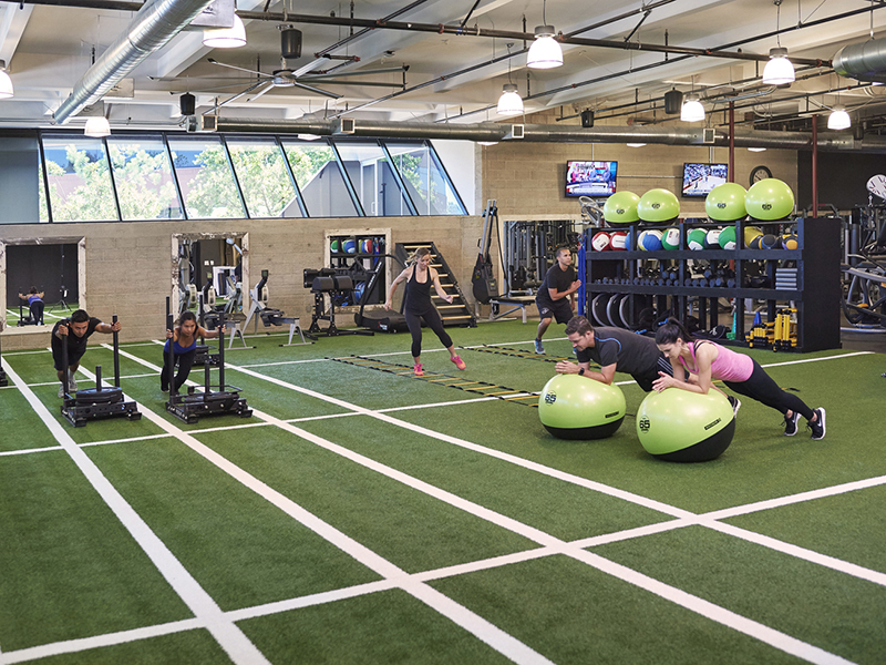 A fully equipped Exos Fitness Center at  The Alexandria at Torrey Pines in San Diego