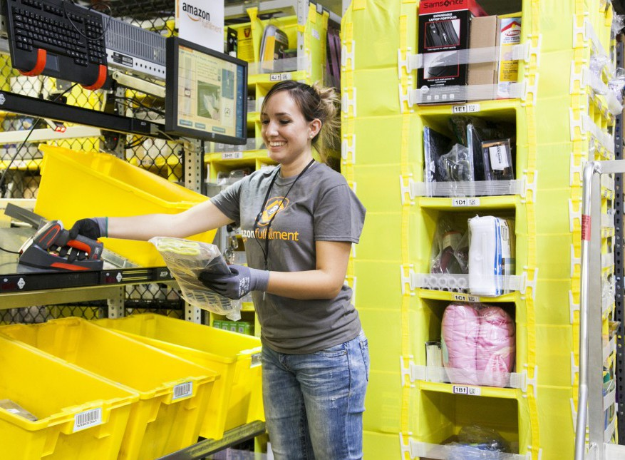 Employee at an Amazon Eighth Generation Fulfillment Center