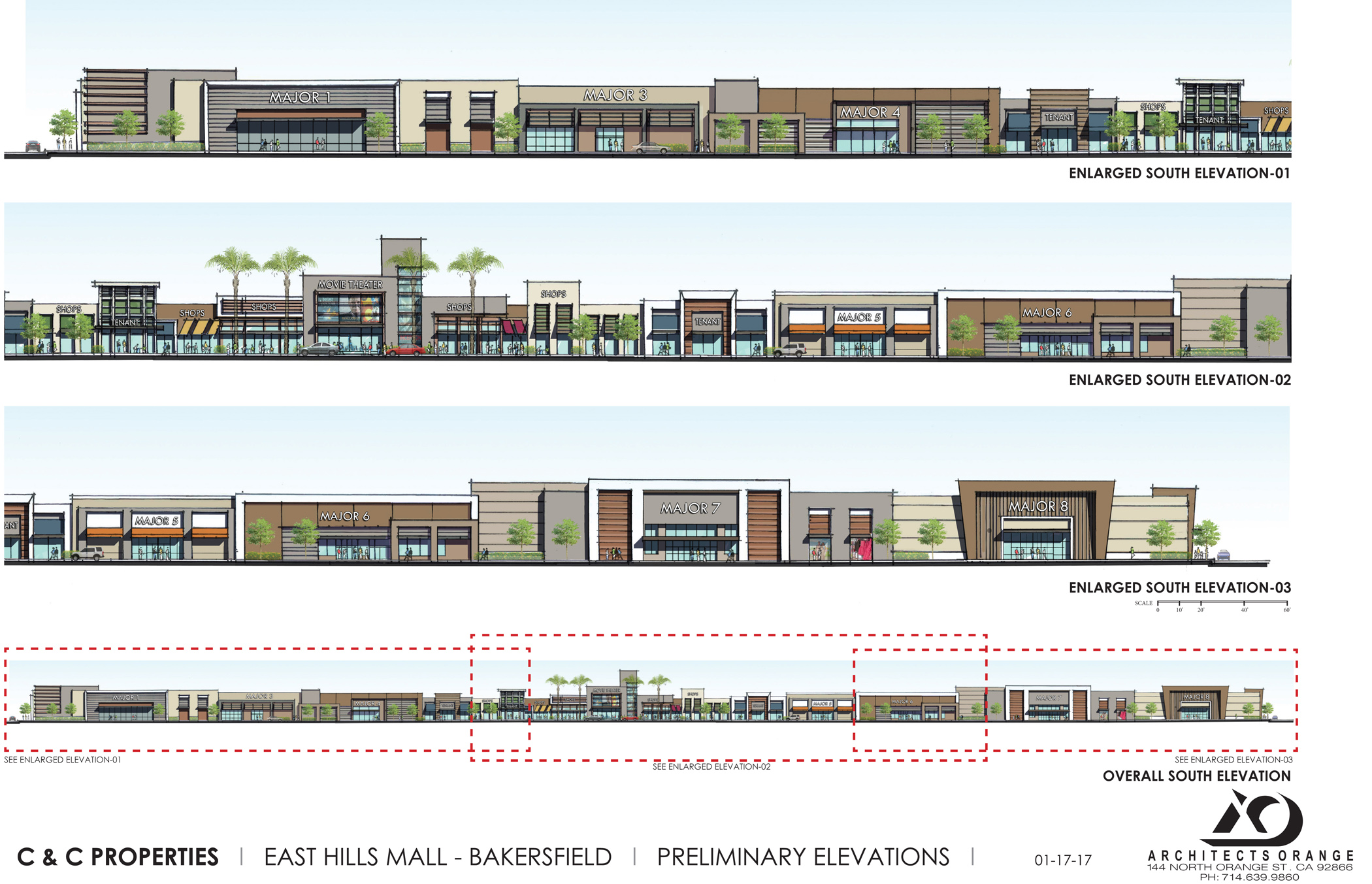 Preliminary elevations for the East Hills Mall in Bakersfield, Calif.