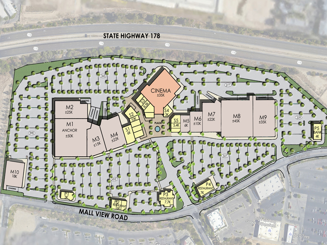 Preliminary site plan of the East Hills Mall in Bakersfield, Calif.