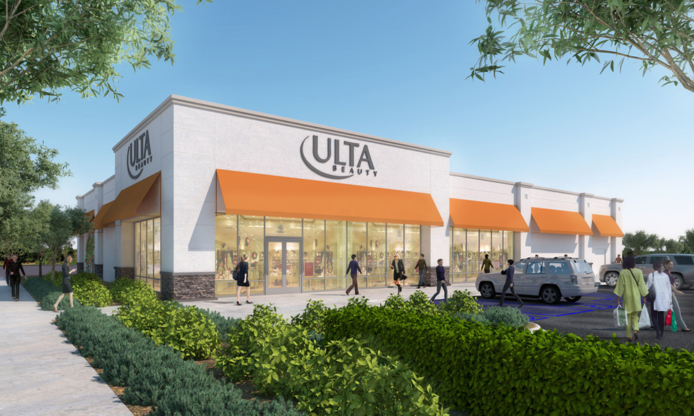 A rendering of the ULTA Beauty building in Chico, Calif.