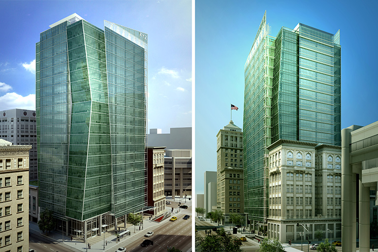 1100 Broadway, Oakland, Calif. (rendering by KMD Architects approved in 2008)