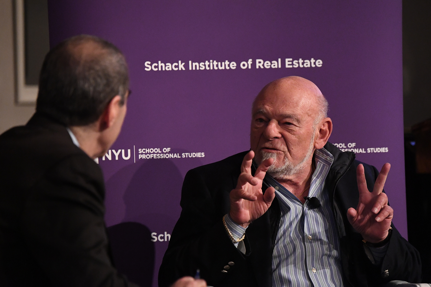 Sam Zell, chairman of Equity Group Investments, speaking at the 2017 NYU School of Professional Studies Schack Institute of Real Estate's REIT Symposim (Image courtesy of NYU Schack Institute of Real Estate)