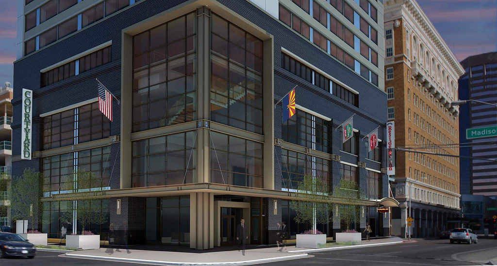 The combined 120-key Courtyard hotel and 200-key Residence Inn