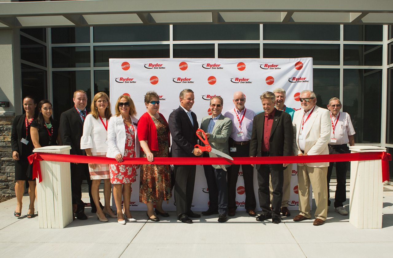 The ribbon-cutting ceremony of Mattel's newest distribution center