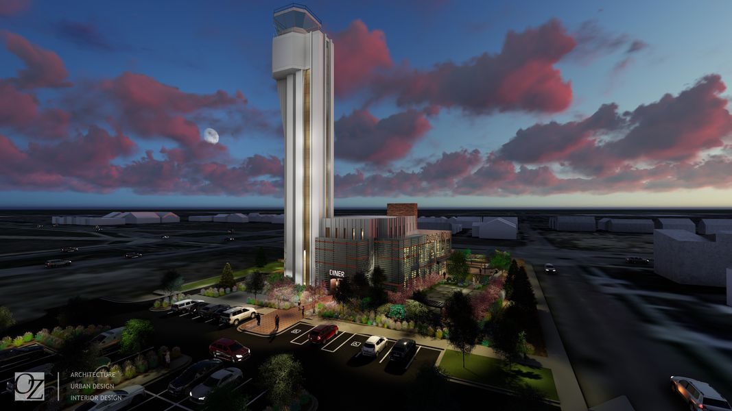 A rendering of the redeveloped Stapleton airport control tower into Denver's second Punch Bowl Social location. (Image courtesy of OZ Architecture)