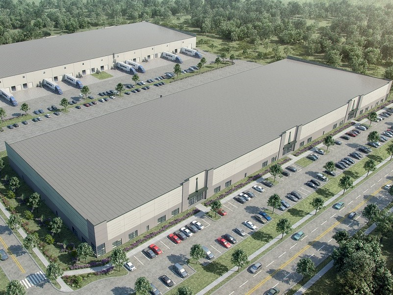 Aerial view of two warehouses planned in Patriot Park, Durham, N.C.