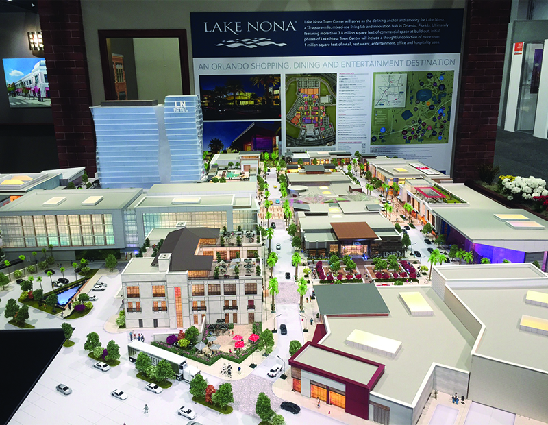 A scale model of the second phase of Lake Nona Town Center, a 3.8 million-square-foot destination in Orlando. Steiner + Associates' plan calls for integrating 800,000 square feet of retail, restaurant and entertainment elements in a pedestrian-friendly setting.