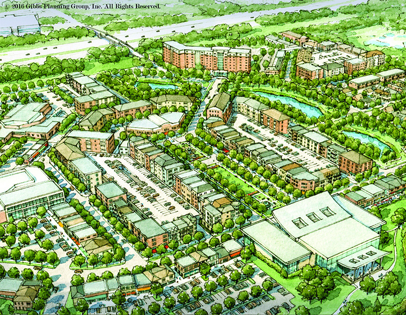 Renderings of a proposed $350 million, 125-acre town center in Troy, Mich., a northern suburb of Detroit. The master plan calls for some 850 residences, retail, parks, a hotel and two town squares, all near civic buildings.