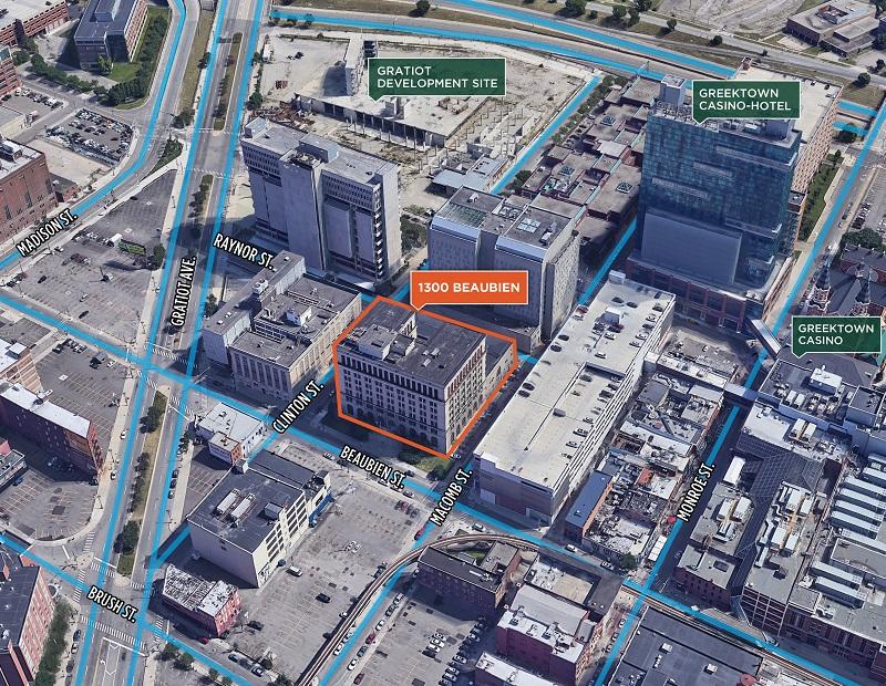 Aerial view of 1300 Beaubien, Detroit