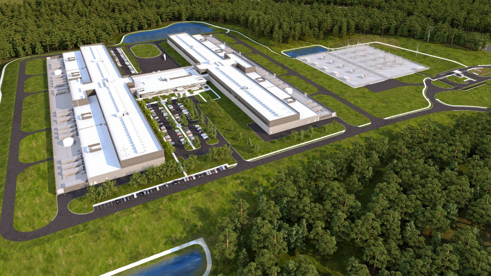 Rendering of Facebook's newest data center in Newton County