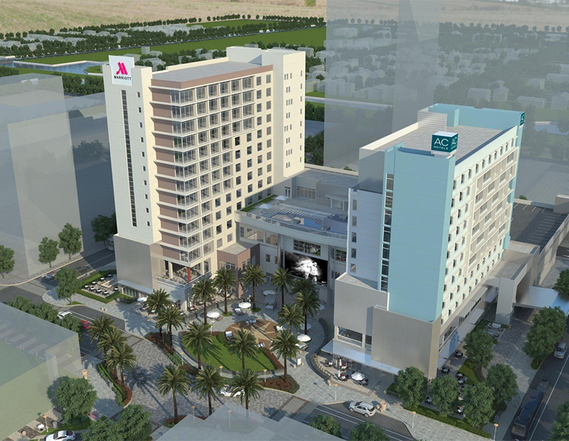 Rendering of dual-branded Marriott project at Dania Pointe