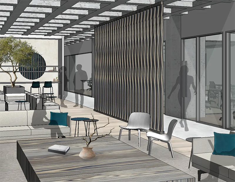 CommonGrounds common area at 1700 Market Street. Rendering courtesy of CommonGrounds Workplace