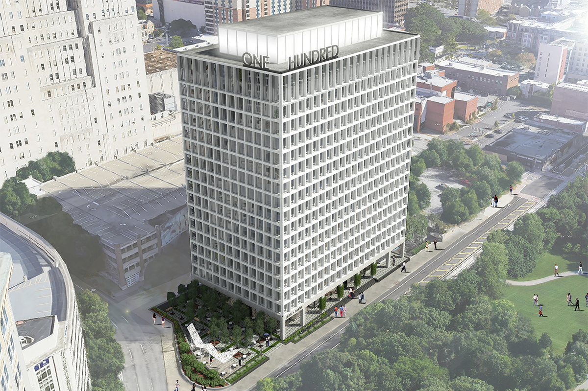 In September, CrowdStreet raised $25 million in equityin three hours to help finance Parkway Properties Investments' $80 million acquisition and rehab of 100 Edgewood, a 306,000-square-foot office building in Atlanta. The asset is in an opportunity zone, and sponsors are targeting an internal rate of return of 15 percent and hold period of 10 years. Photo courtesy of CrowdStreet.