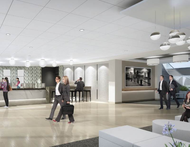 The lobby of 250 Royall St. Image courtesy of Newmark Knight Frank