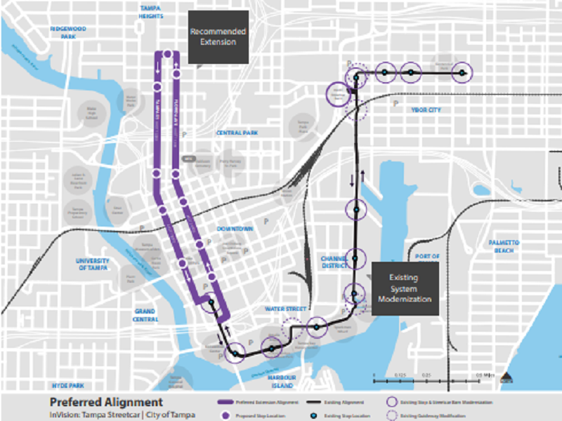 The Tampa Streetcar Extension. Image courtesy of the City of Tampa