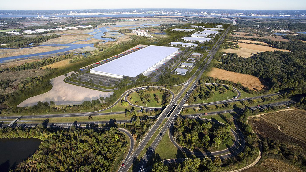 Overview of the planned Logan North Industrial Park in Logan Township, N.J., It will be 3.2 million square feet upon completion. The first two of 10 buildings have been pre-leased to Target and cold storage operator Lineage Logistics. Construction loans were provided by Wells Fargo and Provident Bank. Image courtesy of Advance Realty Investors