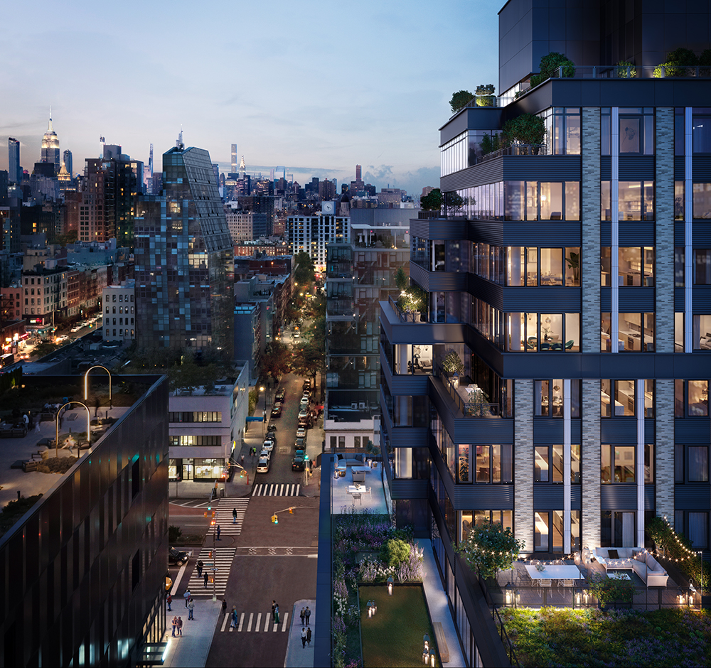 CetraRuddy designed the recently completed One Essex Crossing, a mixed-use development with office and residential units on the Lower East Side of Manhattan that includes several green spaces. Courtesy of CetraRuddy
