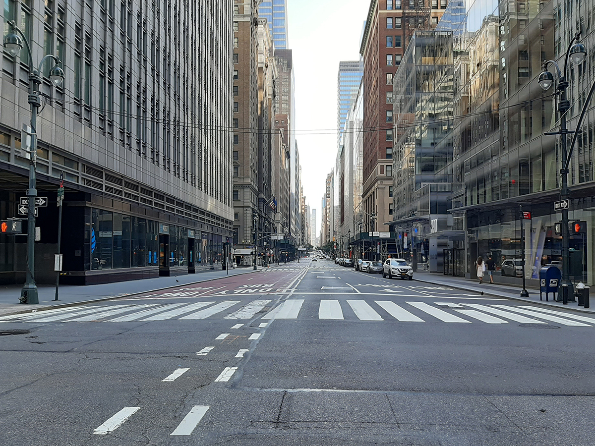 Office usage remains below one-fifth in the New York metro area, according to data from Kastle Systems, after the coronavirus crisis emptied out the city's once-busy streets, such as Madison Avenue in Midtown Manhattan. Image by Greg Isaacson