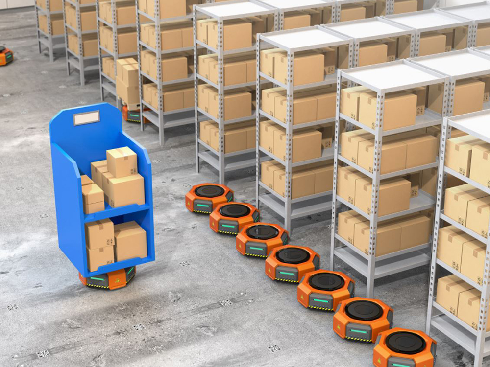 Robots are touted as a way of maintaining social distancing in the warehouse as well as coping with unprecedented e-commerce demand. Image courtesy of Frost & Sullivan