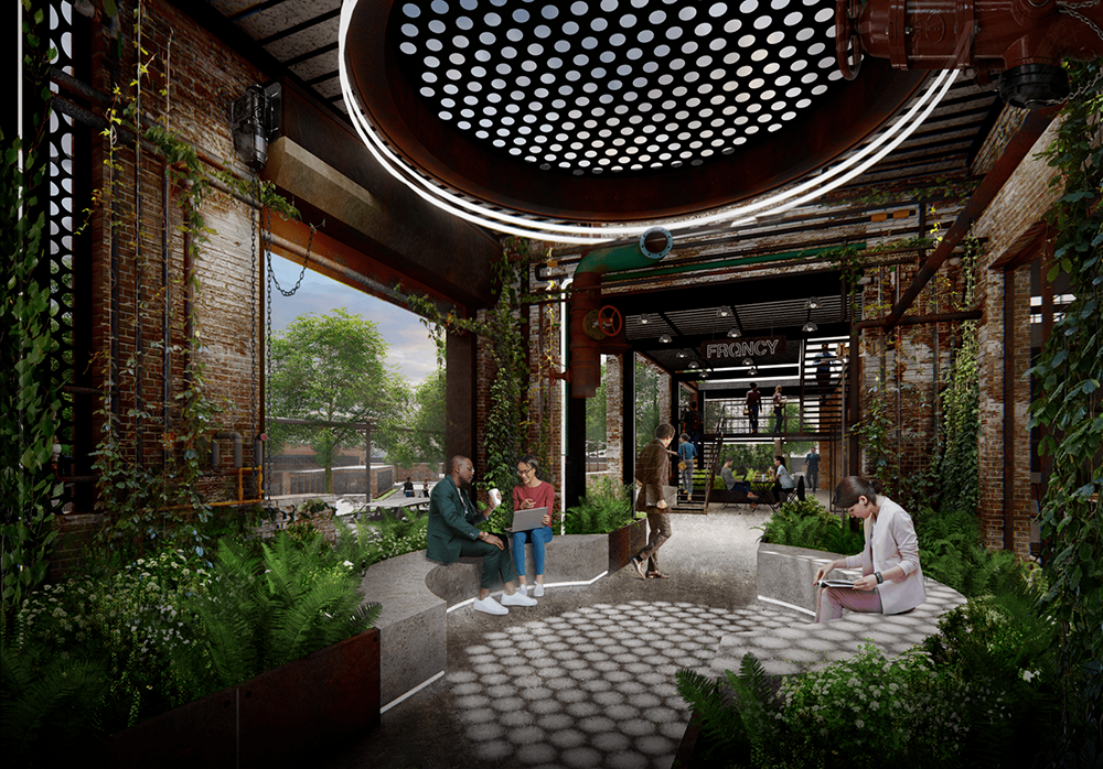 The developers of Camp North End are bringing creative office space to Charlotte, which saw hiring in the tech industry rebound by 15 percent from the second quarter to the fourth quarter of 2020, according to the Charlotte Regional Business Alliance. Renderings courtesy of Nelson Byrd Woltz